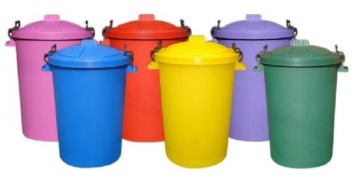 Heavy Duty Coloured Clip Dustbins (85 litre)